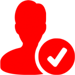 Red icon of a person with a check mark